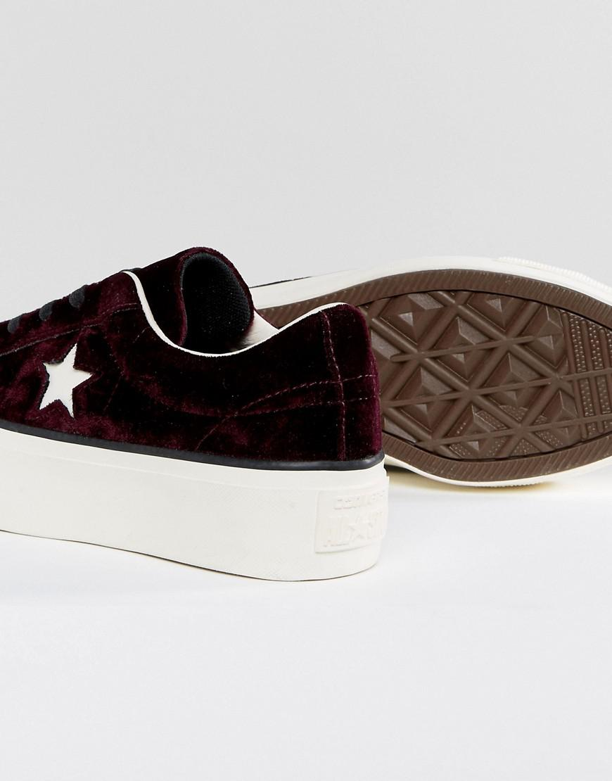299ecd02cdd3 Lyst - Converse One Star Platform Ox In Burgundy in Red