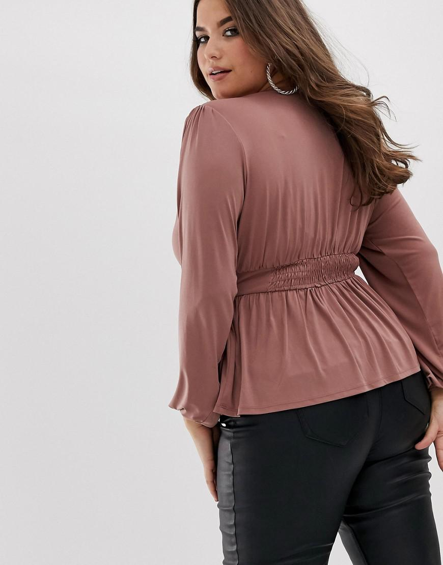 b09acd939d03d Lyst - ASOS Asos Design Curve Long Sleeve Top With Balloon Sleeve And Corset  Waist in Pink