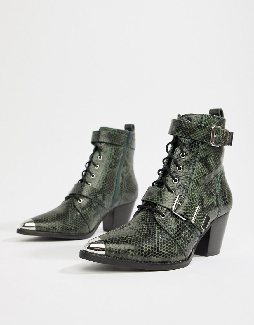 e4b98c4436c Lyst - ASOS Rhythmic Premium Leather Western Lace Up Boots In Snake ...