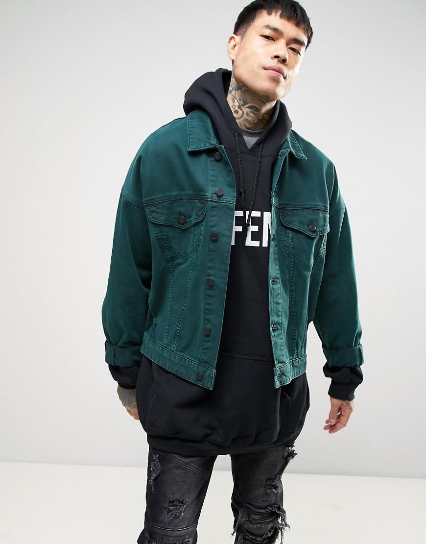 Asos Oversized Denim Jacket In Bottle Green in Green for Men | Lyst