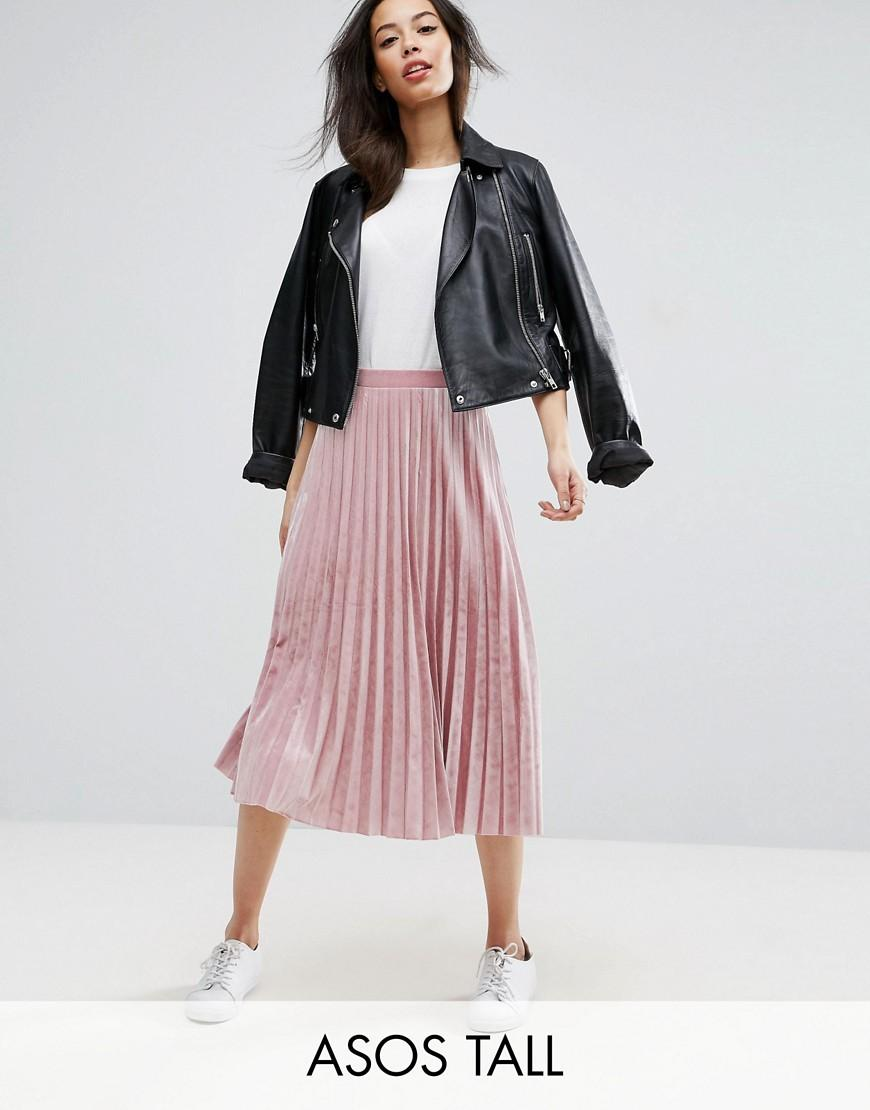 Asos Pleated Midi Skirt In Velvet Pink Lyst
