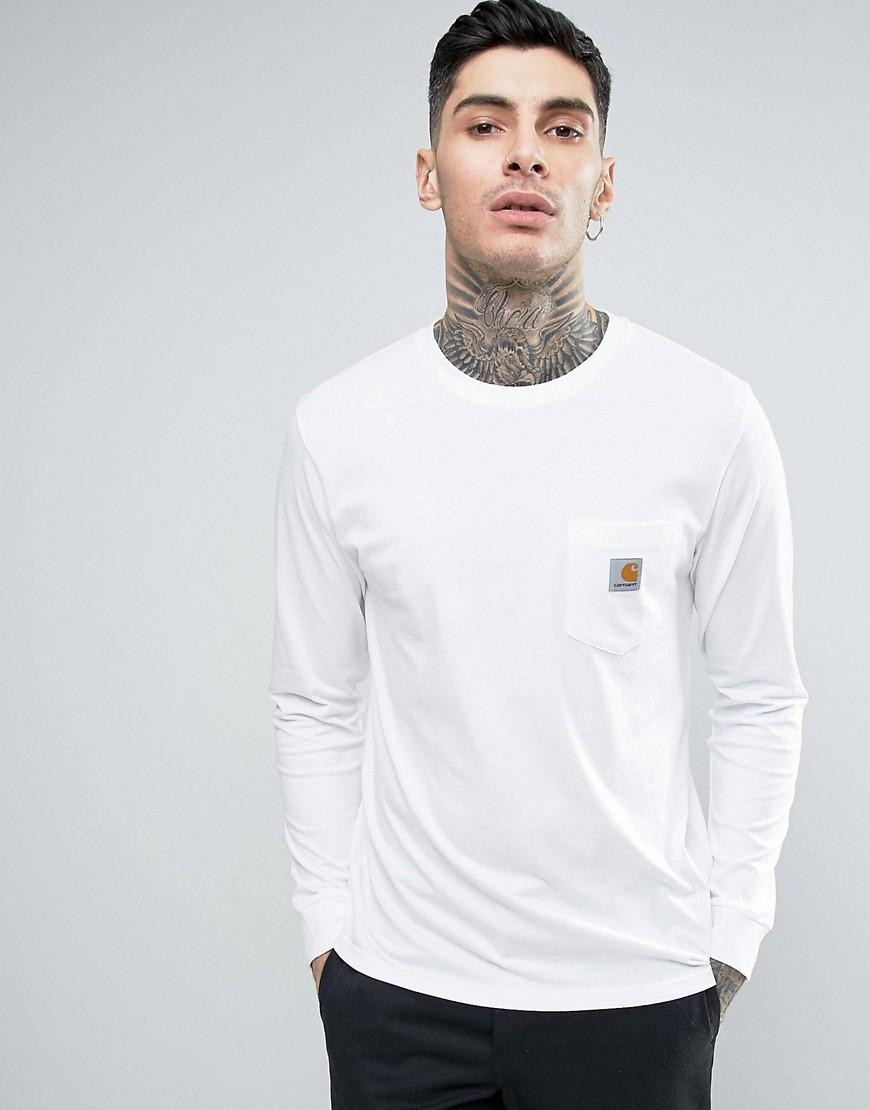 Carhartt wip pocket long sleeve t shirt in white for men for Carhartt long sleeve t shirts white