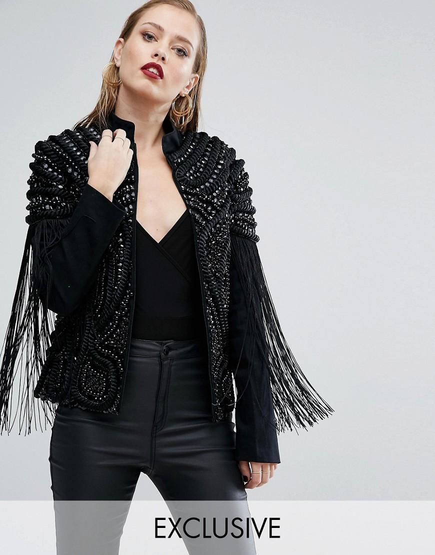 A star is born embroidered fringe trophy jacket in black