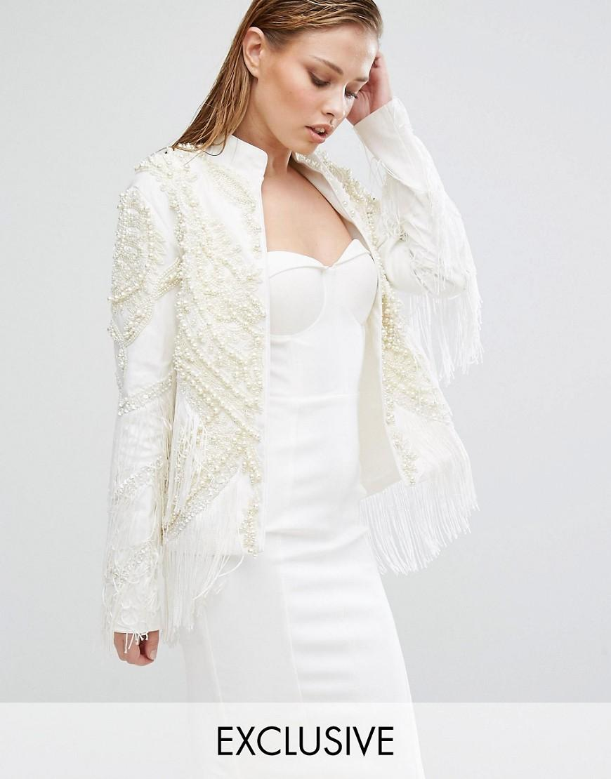 A star is born embroidered fringe trophy jacket in white