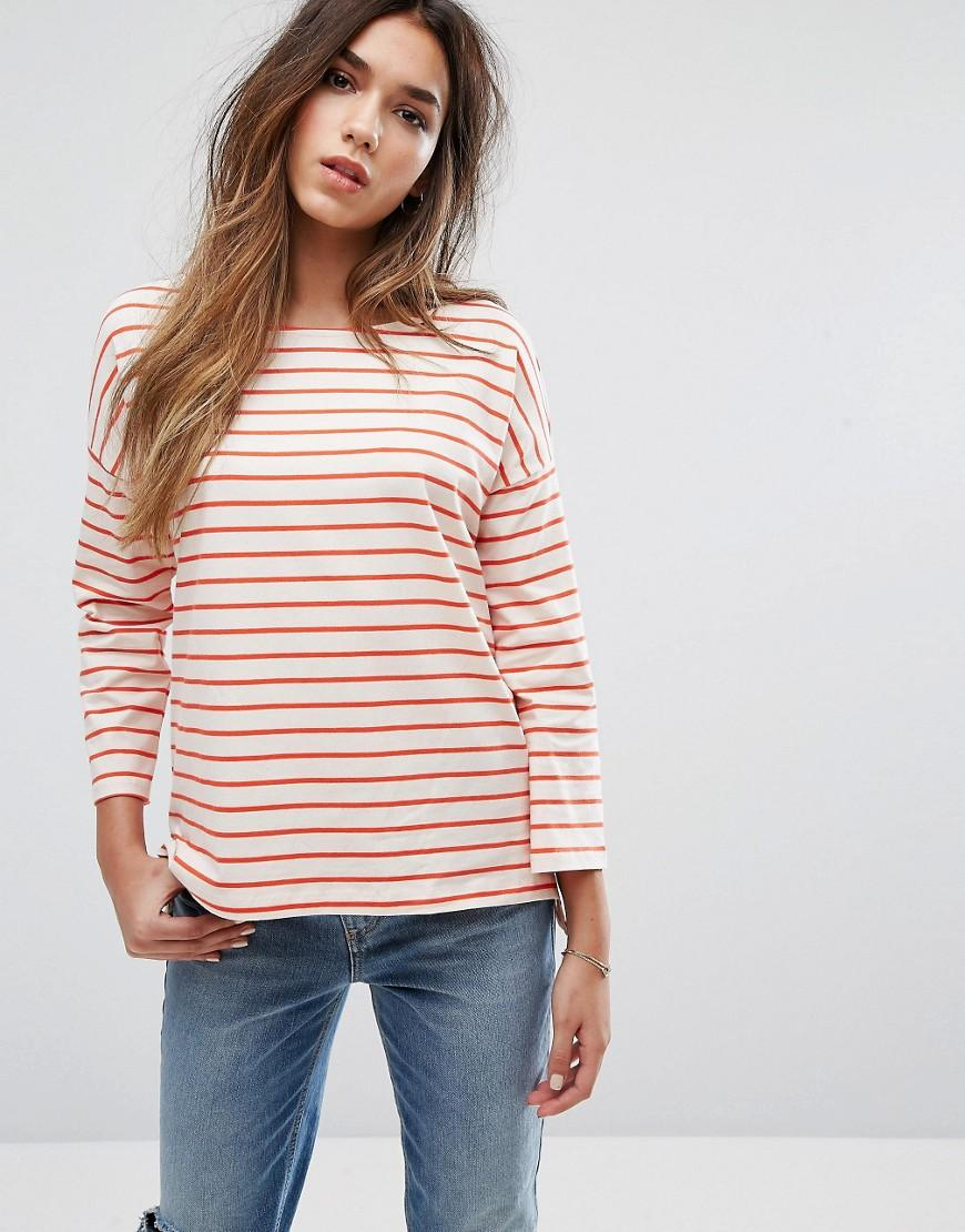 Lyst french connection 3 4 sleeve stripe t shirt for French connection t shirt dress