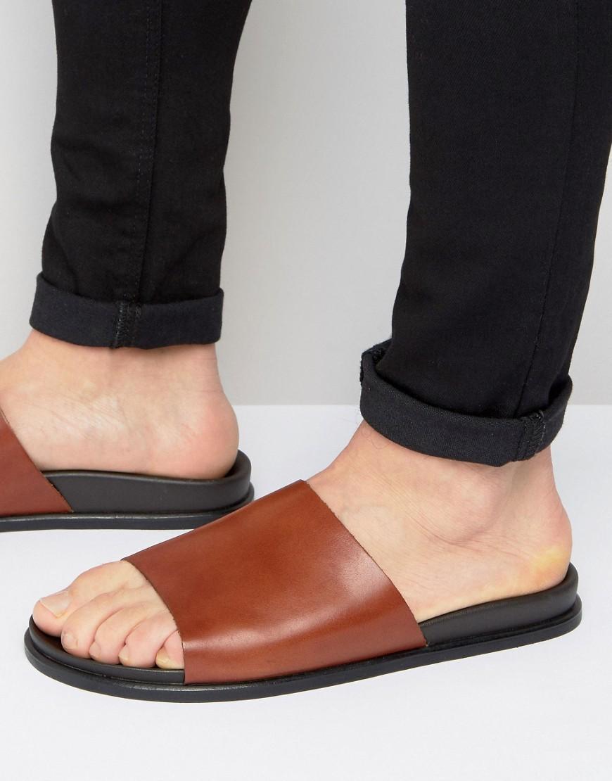 Aldo Afivia Leather Mule Slider Sandals In Brown For Men