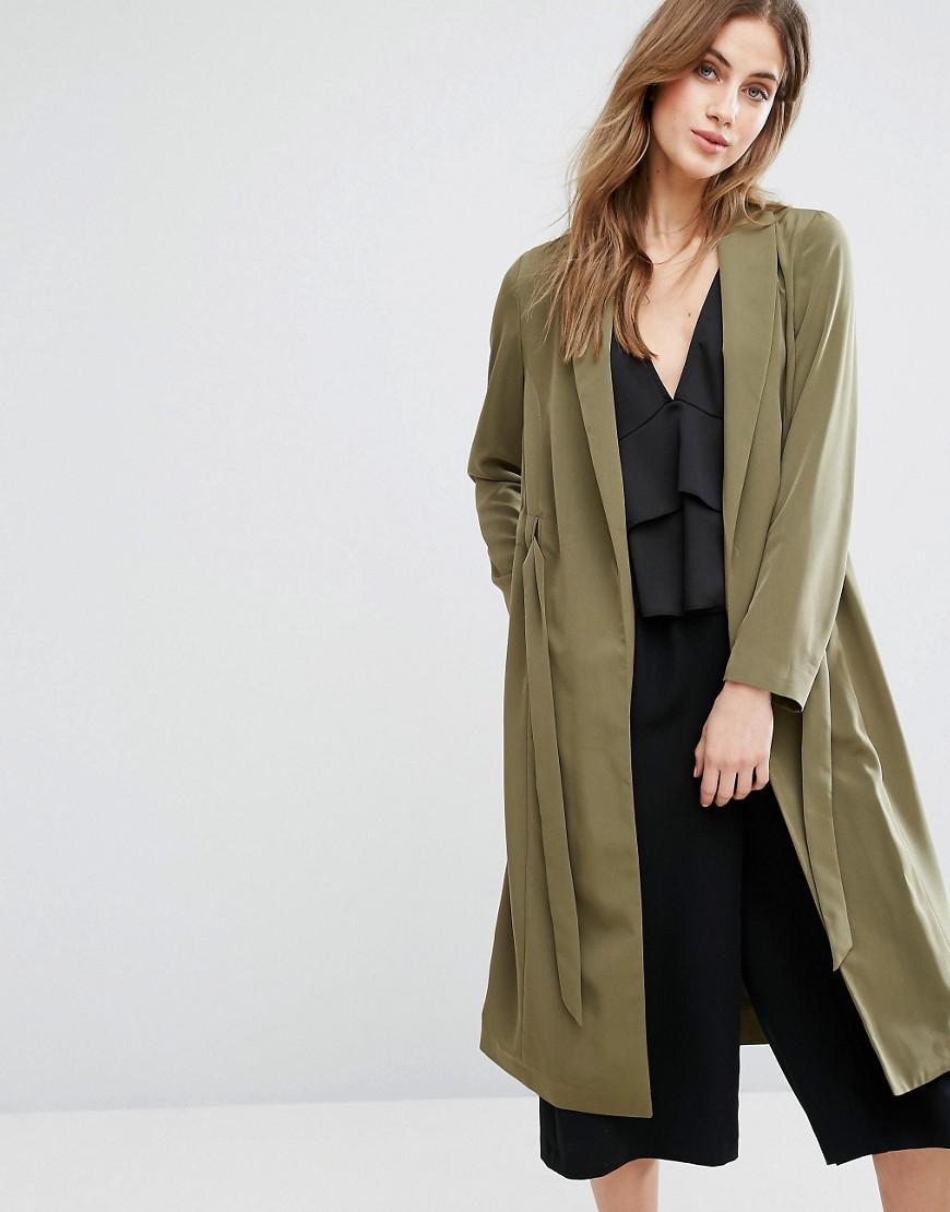 Miss selfridge Belted Duster Coat in Green