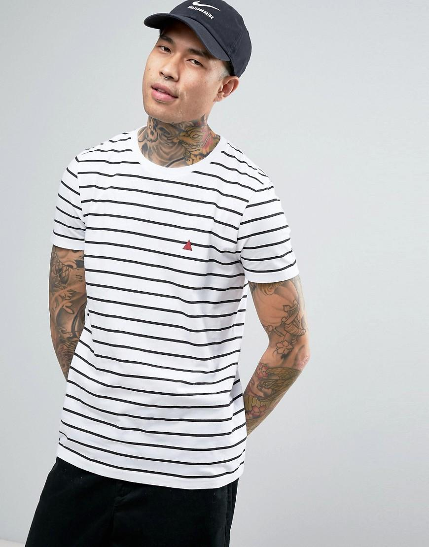 Asos Stripe T Shirt With Triangle Logo In White For Men Lyst