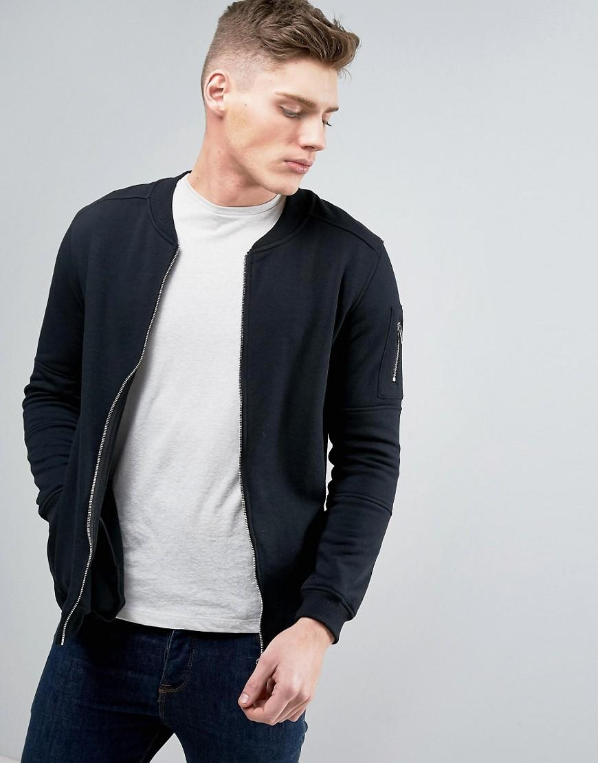 jack jones core sweat bomber with zip arm pocket in black for men. Black Bedroom Furniture Sets. Home Design Ideas