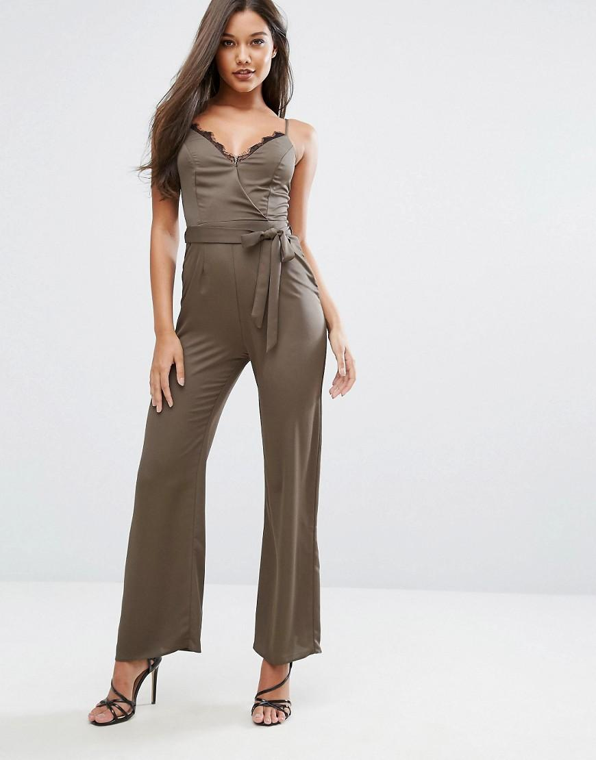 Lipsy Michelle Keegan Loves Satin Jumpsuit With Lace Insert In Green | Lyst