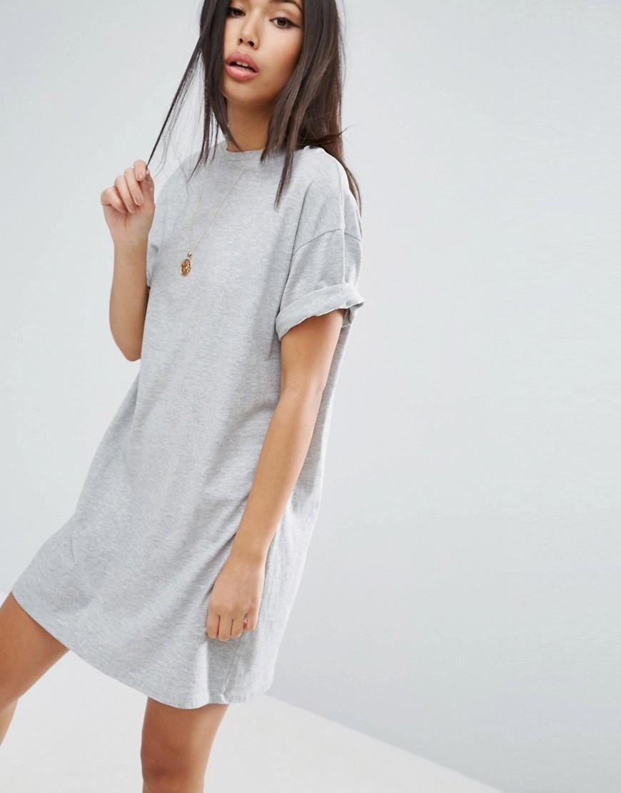 asos ultimate t shirt dress with rolled sleeves in gray lyst. Black Bedroom Furniture Sets. Home Design Ideas