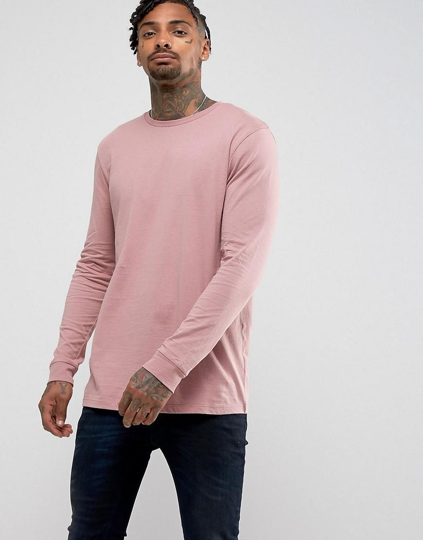 Asos longline long sleeve t shirt in pink in pink for men for Mens pink long sleeve shirt