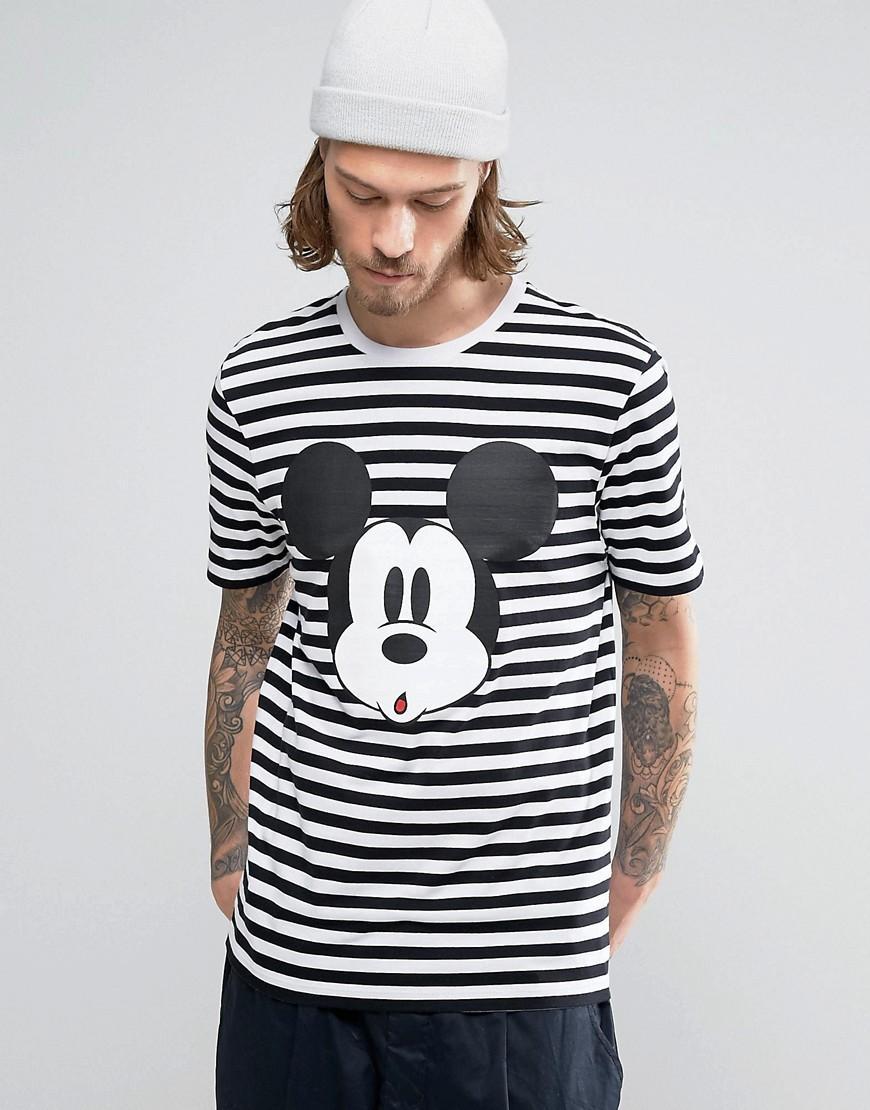 Asos Mickey Mouse Stripe T Shirt In White For Men Lyst