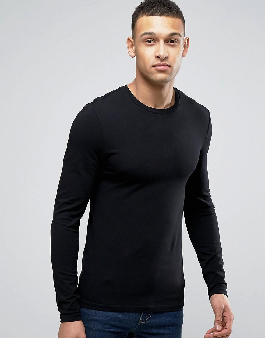 Asos extreme muscle long sleeve t shirt with crew neck in for Thin long sleeve t shirts
