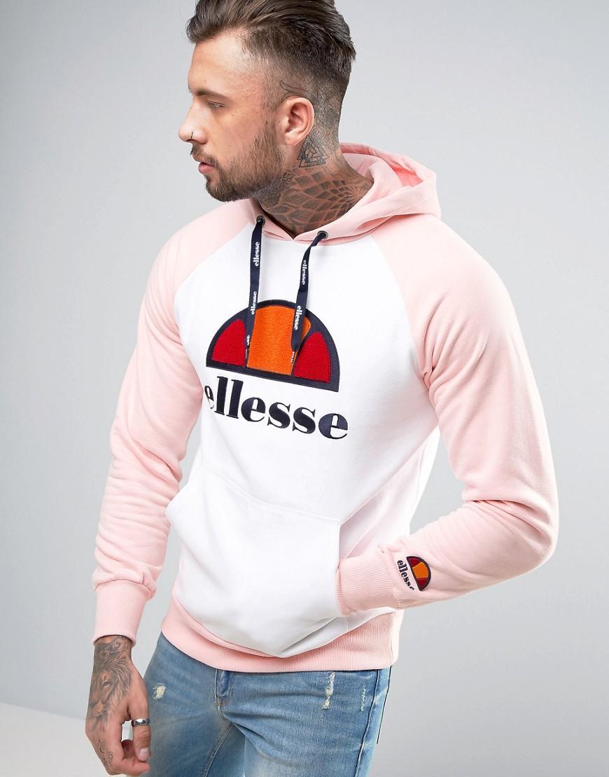 ellesse raglan hoodie with large logo in pink for men lyst. Black Bedroom Furniture Sets. Home Design Ideas