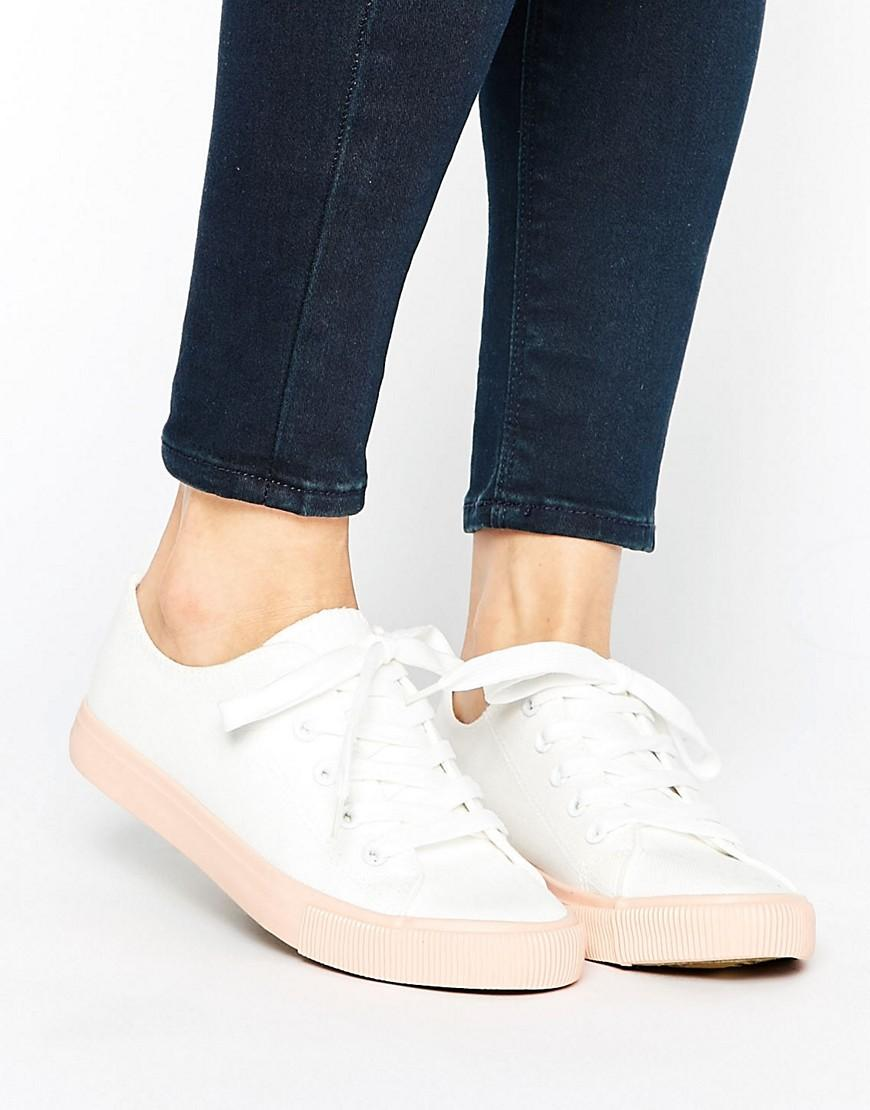 new look colour block canvas trainer in pink lyst