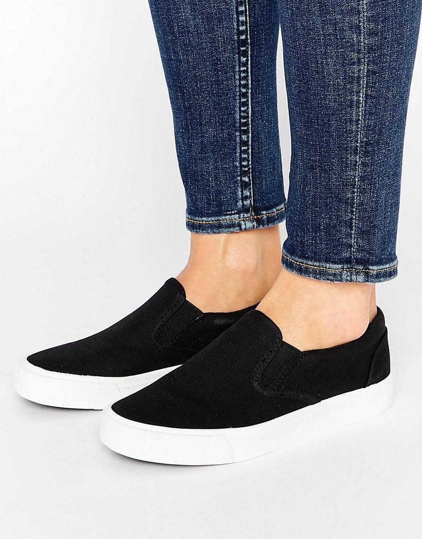 new look basic canvas trainer in black lyst