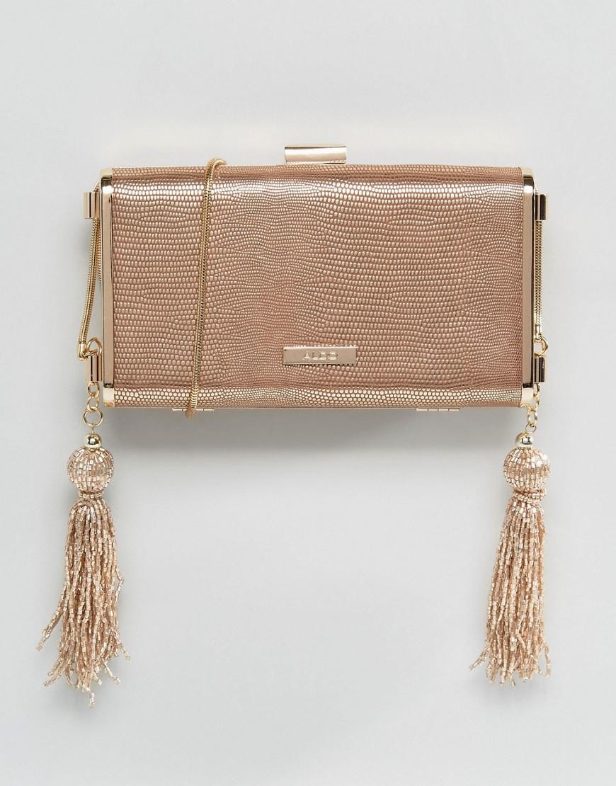 lyst aldo rose gold box clutch with cross body chain in metallic. Black Bedroom Furniture Sets. Home Design Ideas