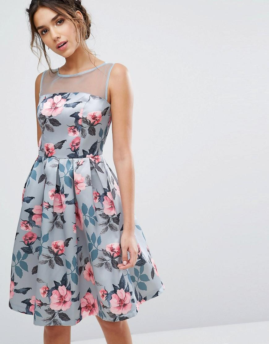 chi chi london floral print midi dress in sateen in blue. Black Bedroom Furniture Sets. Home Design Ideas