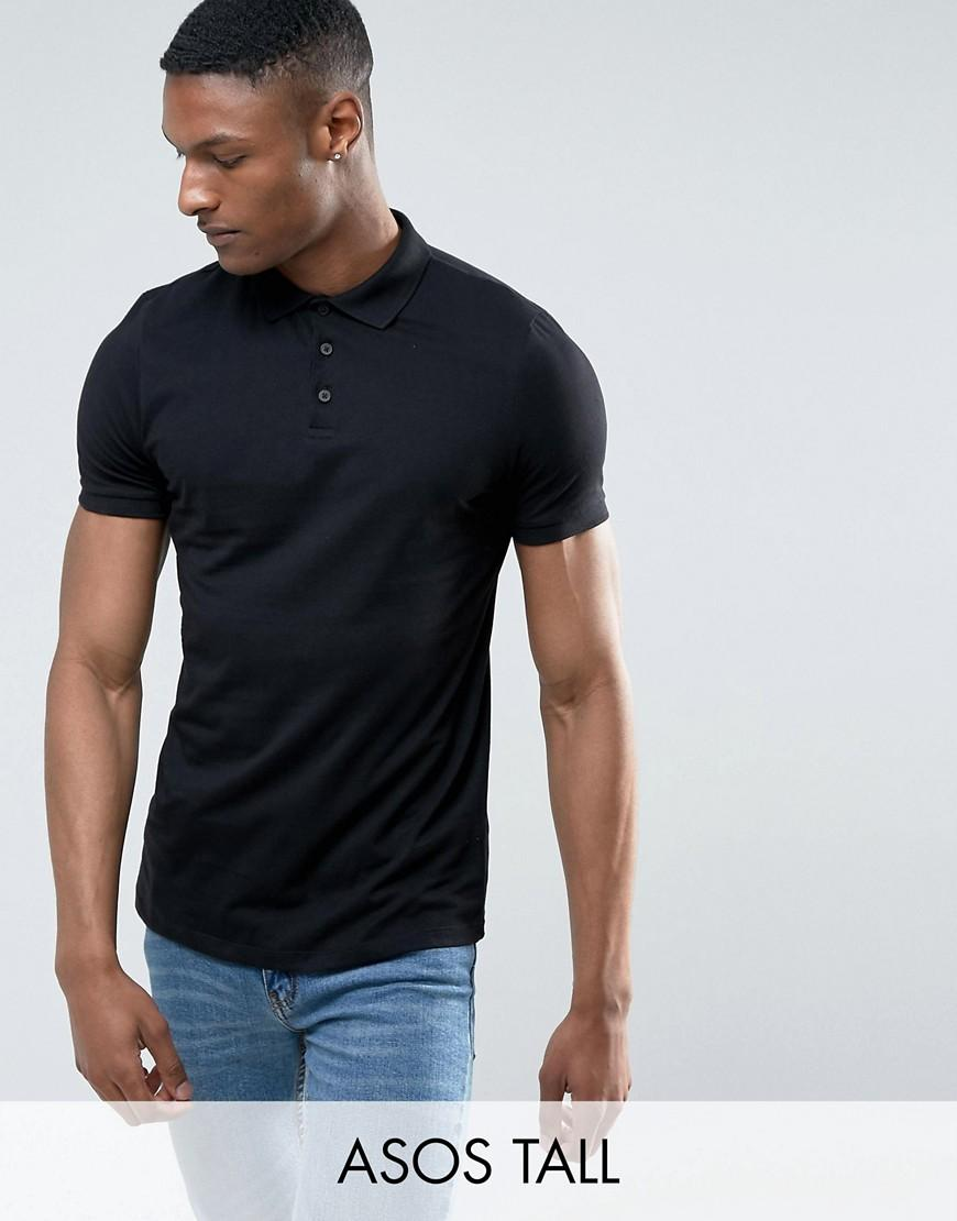 Asos Tall Polo Shirt In Black In Black For Men Lyst