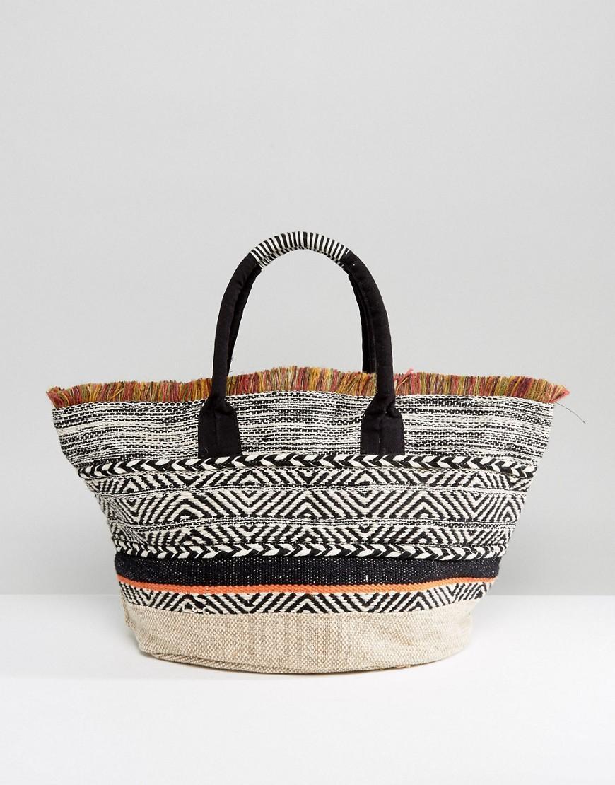 Mango Beach Bag With Fringing in Black | Lyst