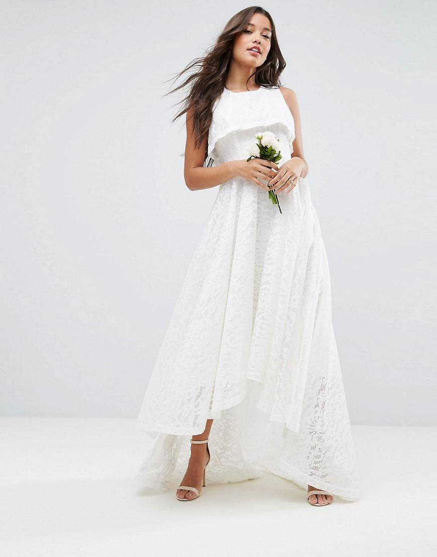 Asos Bridal High Crop Lace Maxi Dress in White