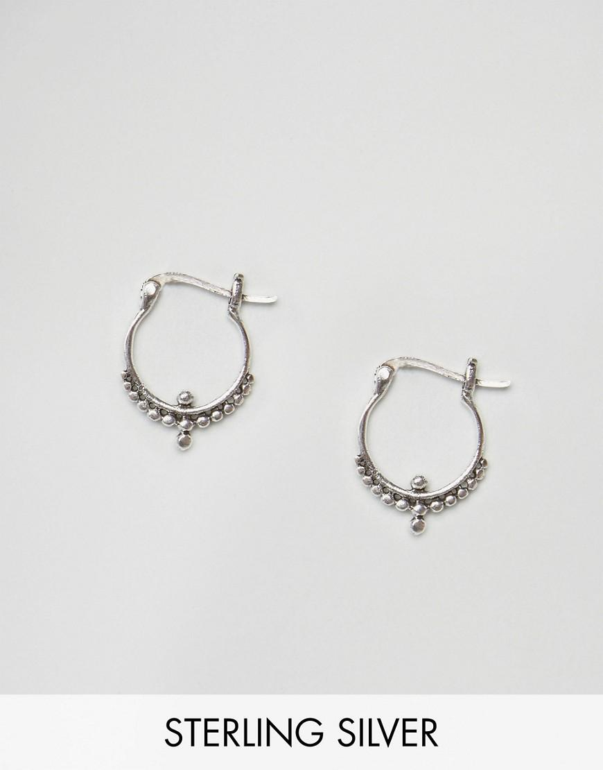 kingsley sterling silver ornate hoop earrings in