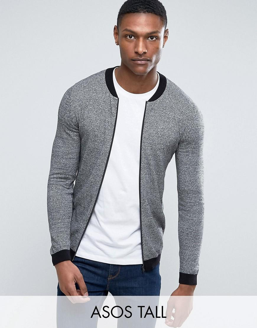 asos tall knitted cotton bomber with contrast trims in grey twist in grey for men lyst. Black Bedroom Furniture Sets. Home Design Ideas