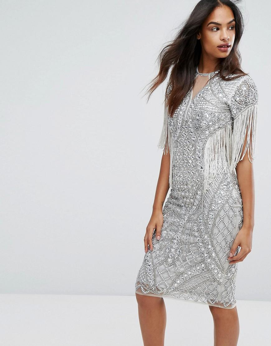 Star is born embellished crepe maxi dress in metallic lyst - A Star Is Born Women S Metallic All Over Embellished Pencil Dress