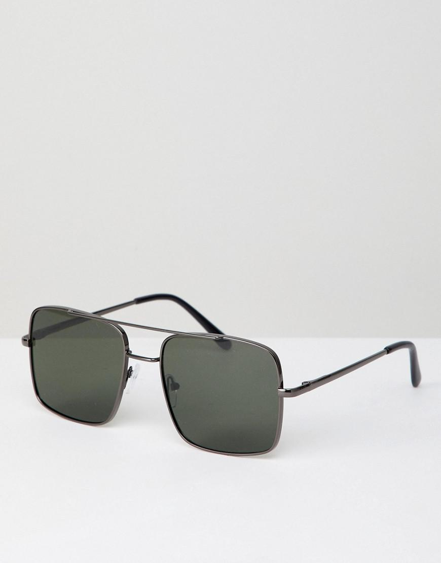 fa126cf847 A.J. Morgan Square Aviator Sunglasses In Gunmetal in Metallic - Lyst