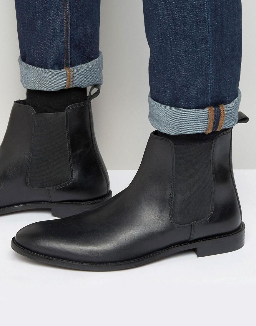 asos wide fit chelsea boots in black leather in black for