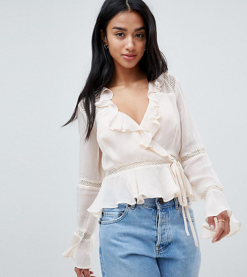 ASOS DESIGN Tall wrap top with ruffle and lace insert in pink - Pink Asos Tall Good Selling For Sale Visit Buy Cheap Best Sale IndQz2