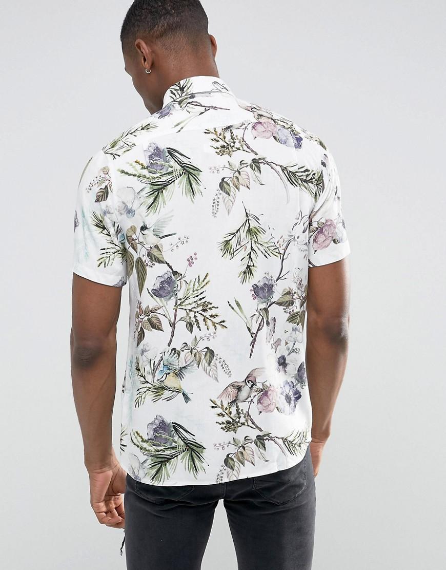 Lyst Asos Tall Regular Fit Viscose Shirt With Japanese