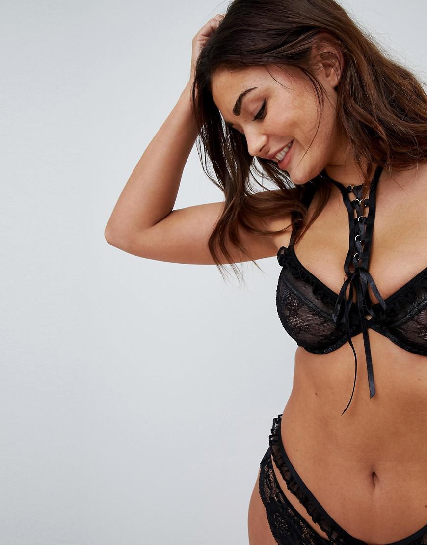 b1736e1844 ASOS Fuller Bust Premium Danielle Lace Up Underwire Bra in Black - Lyst
