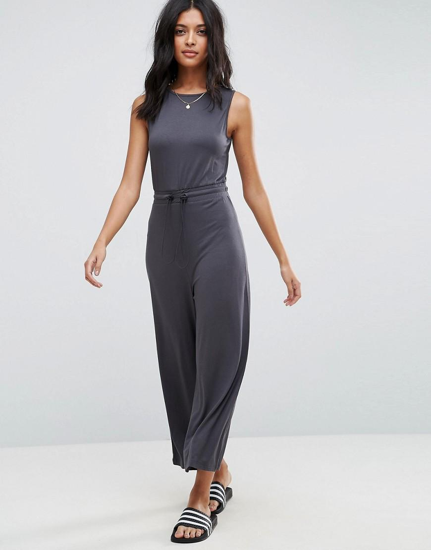 c9d95119232 Asos Sleeveless Jersey Jumpsuit With Toggle Detail in Gray .