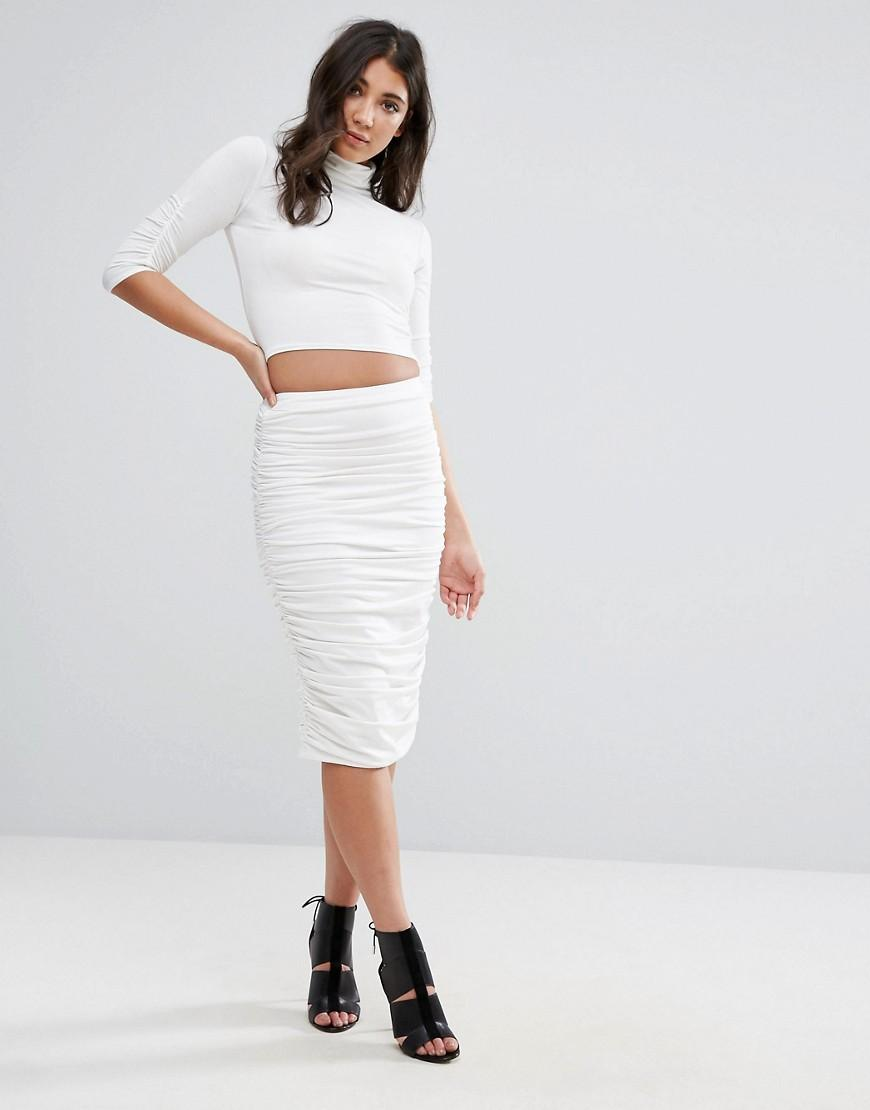 missguided peace white ruched midi skirt in white