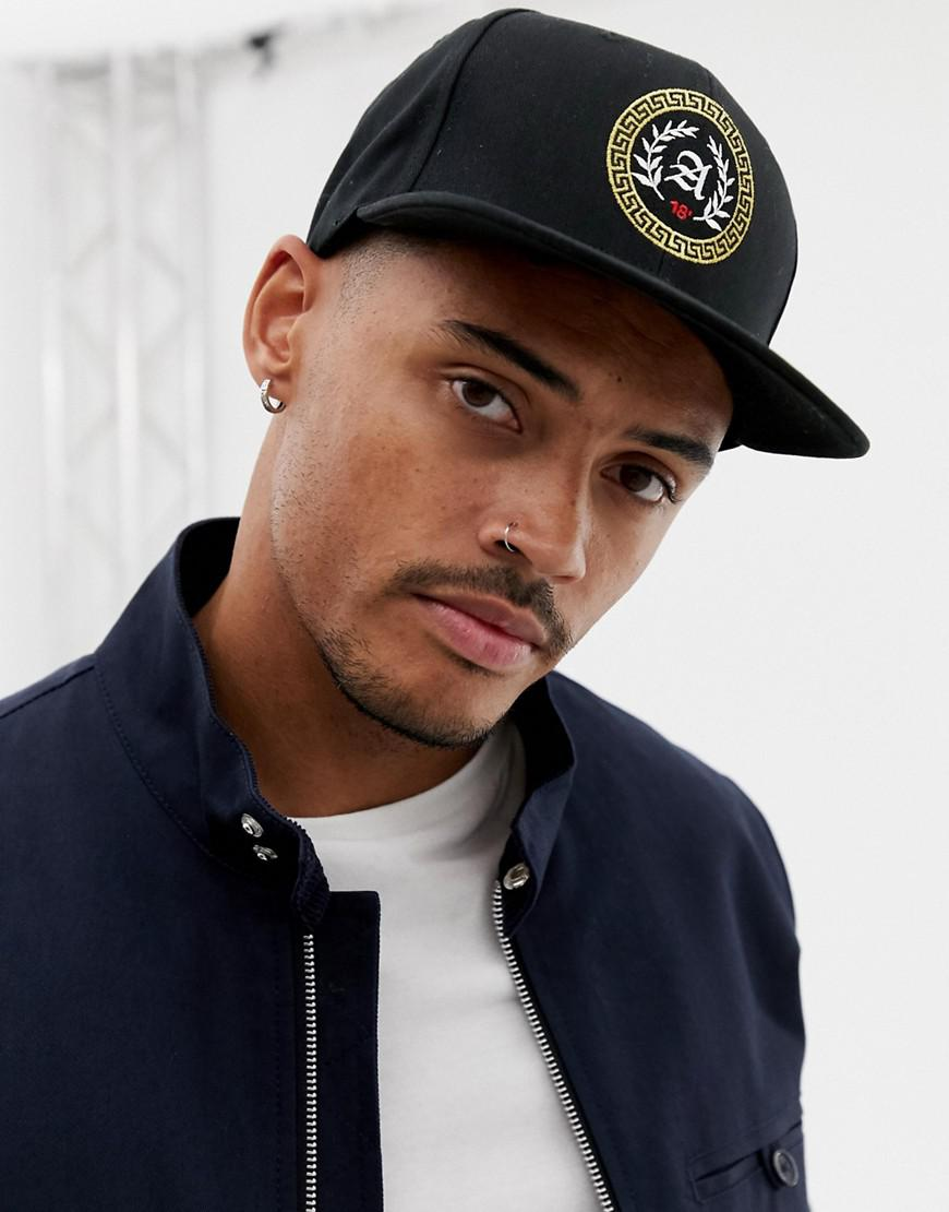 7c8feffc0af Lyst - Asos Snapback In Black With Gold Embroidery in Black for Men