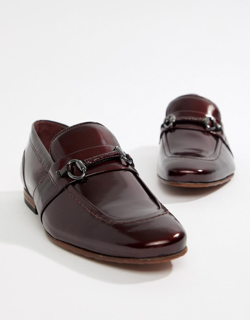 de8b72040b58f Ted Baker Paiser Embossed Loafers In Patent Burgundy Leather in Red ...