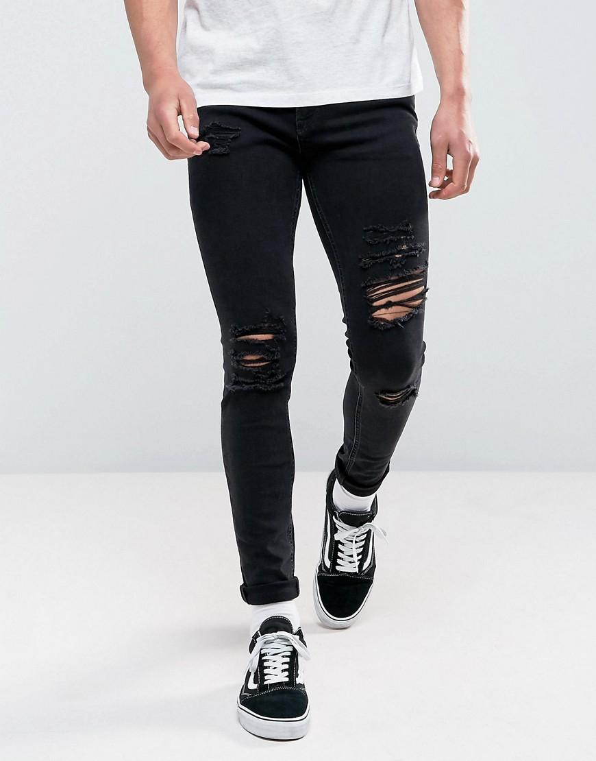 jack jones intelligence jeans in skinny fit ripped black. Black Bedroom Furniture Sets. Home Design Ideas
