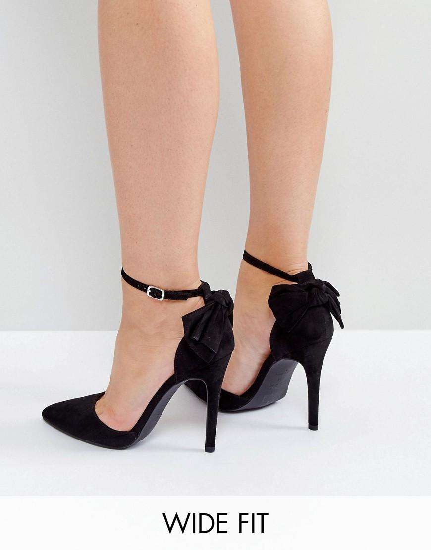Shoes Black Women Heels Pointed Toe Bow