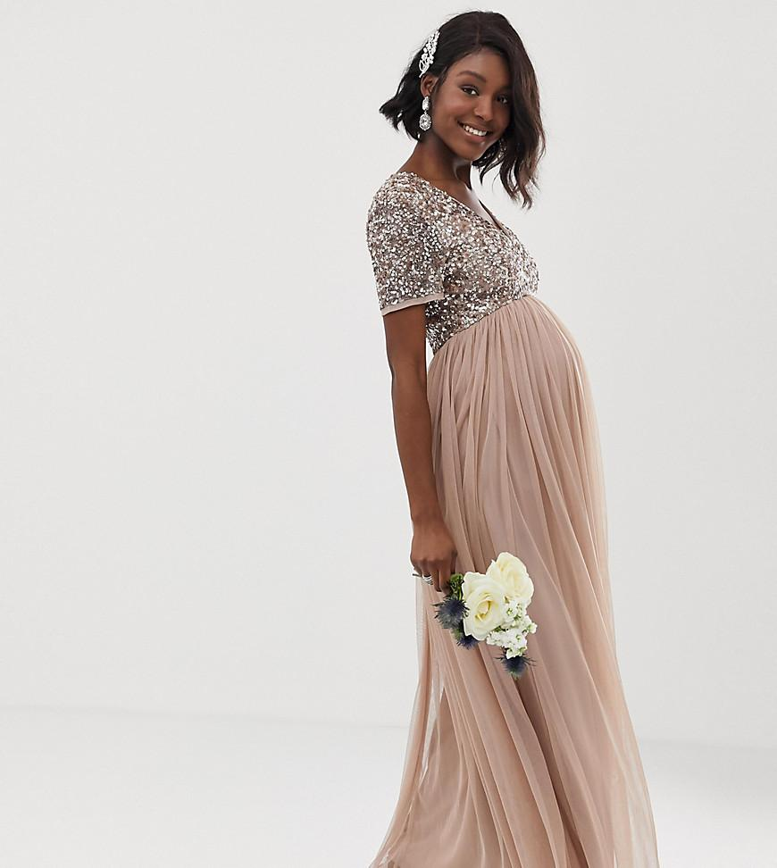 ecc59157ea Maya Maternity. Women's Brown Bridesmaid V Neck Maxi Tulle Dress With Tonal  Delicate Sequins In Taupe Blush
