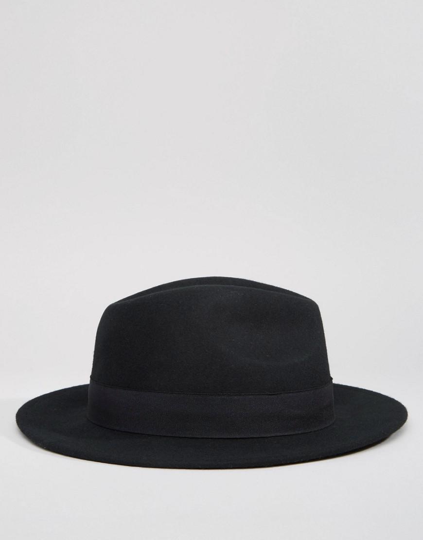 c25a9b06cbeff ASOS Fedora Hat In Black Felt in Black for Men - Lyst