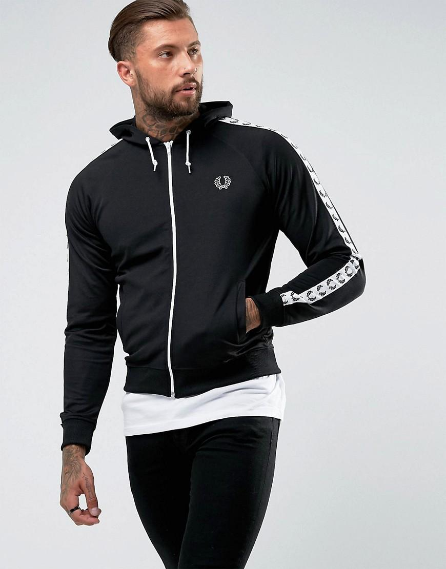 fred perry taped hooded track jacket in black in black for. Black Bedroom Furniture Sets. Home Design Ideas