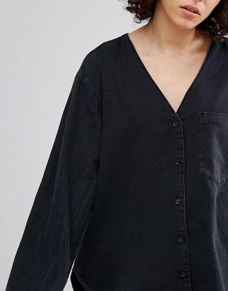 959aa1a38aa Lyst - Weekday Collarless Denim Shirt in Black