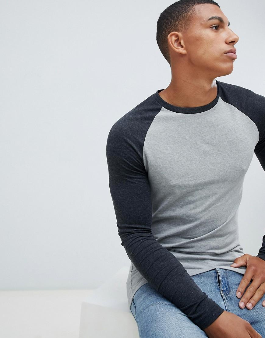 e25f9f0a ASOS. Men's Muscle Fit Long Sleeve Crew Neck T-shirt With Stretch With Contrast  Raglan Sleeves