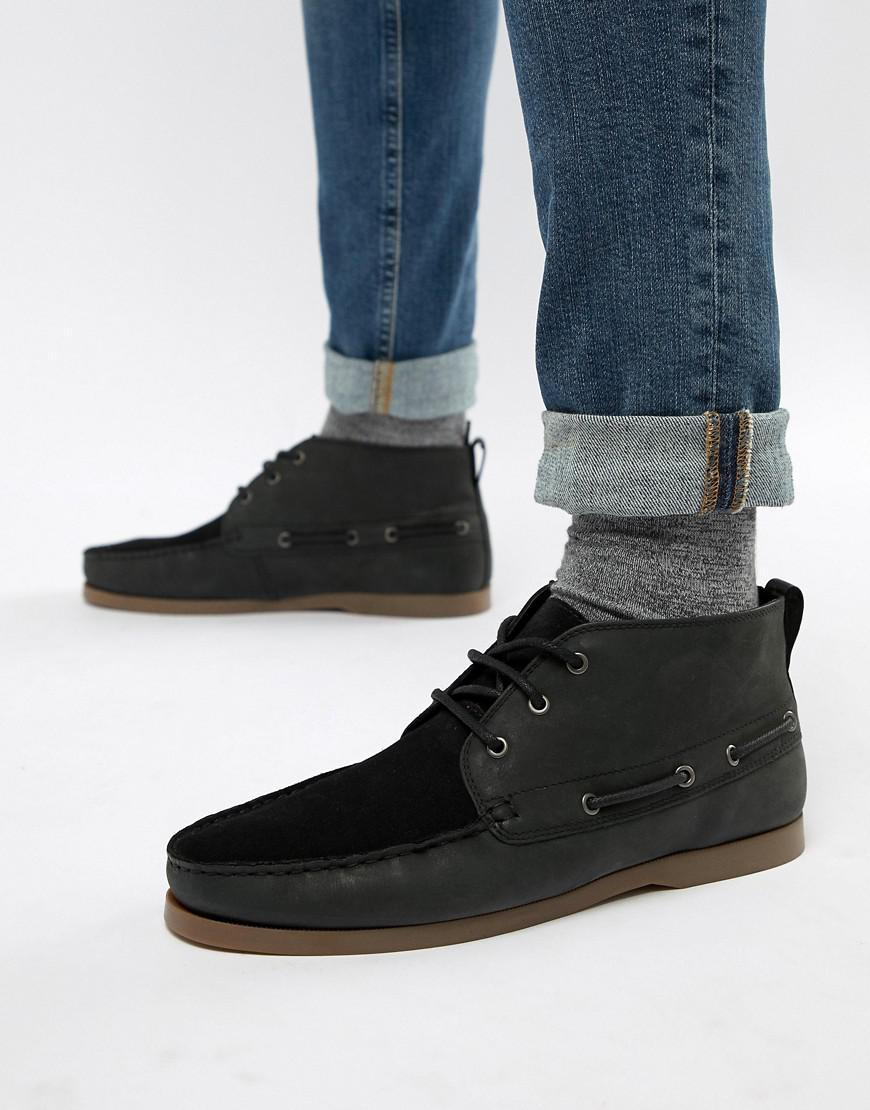 99e44f8b57196 ASOS Chukka Boat Shoes In Black Suede in Black for Men - Lyst