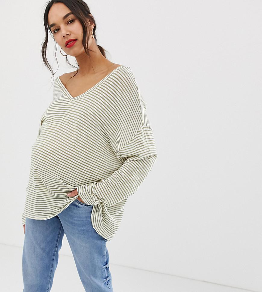 0672c67c20c1a ASOS. Women's Asos Design Maternity Oversized Stripe T-shirt With V Back ...