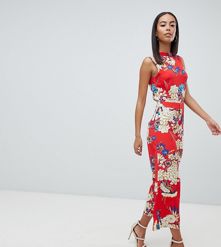 412d585e08eb9 Lyst - Combinaison jupe-culotte fleurs avec dos dcouvert Missguided ...