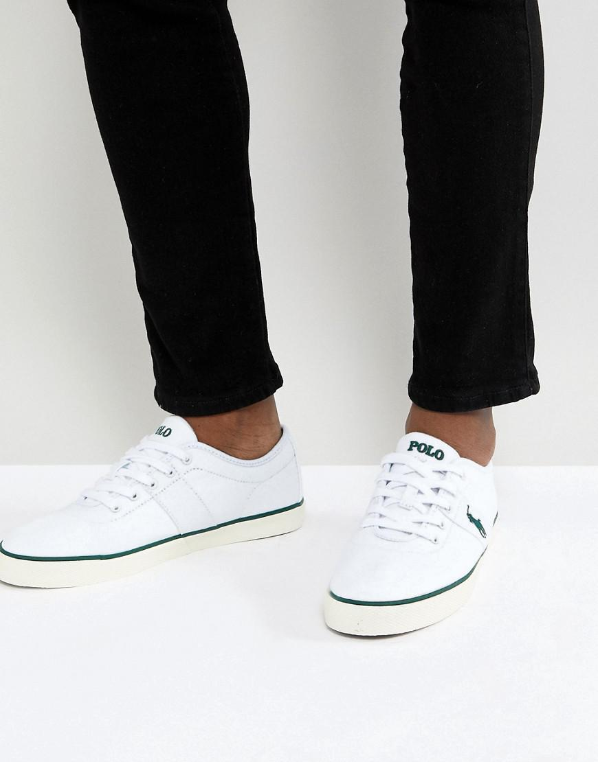 Ralph Lauren Casual Leather Canvas Men Green Blue White Shoes