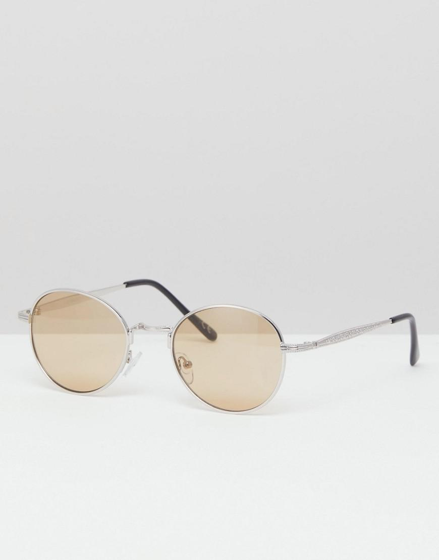 d0a03828aa Lyst - ASOS Round Sunglasses In Silver Metal With Amber Lens in ...